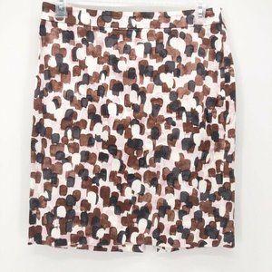 J Crew Womens Mini Pencil Skirt Brown White 10